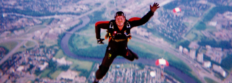 skydiver takes the plunge